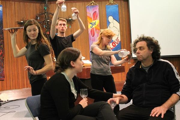 """Grain of Salt"" ensemble cast in rehearsal, from L - R: Robin Hodge, Mitchel Rose, Megan Piercey Monafu, Lori Jean Hodge, Jeff Lefebvre. Photo provided by 9th Hour Theatre Company."