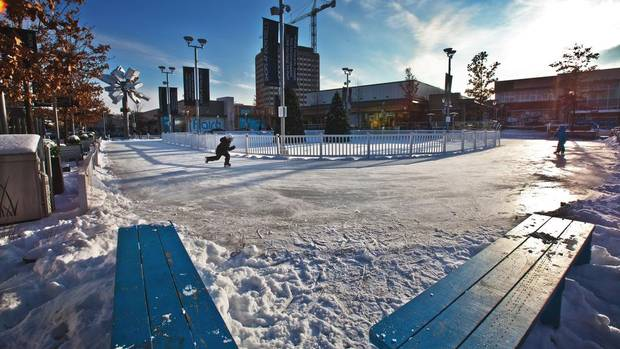 The ice rink at the Shops at Don Mills adds to that neighbourhoods desirability. (JENNIFER ROBERTS For The Globe and Mail)
